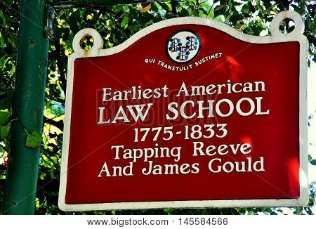 Litchfield Connecticut - September 15 2014: Sign at the historic 1775-1833 Tapping Reeve and James Gould Law School - Xu Lei Photo