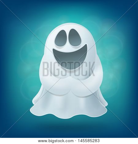 Laughing cartoon ghost on blue background. Halloween party design element vector illustration