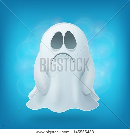 sad cartoon ghost on blue background. Halloween party design element vector illustration