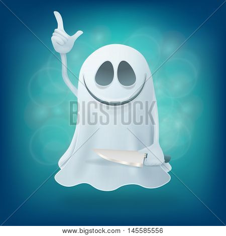 maniac ghost with knife on blue background. Halloween party design element vector illustration
