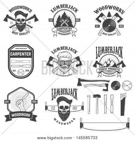 Set of woodworks carpentry labels emblems and design elements. element for logo label emblem sign brand mark. Vector illustration.