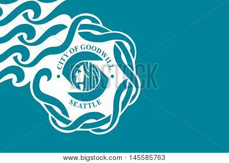 Flag of Seattle is a West Coast seaport city USA.