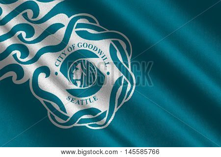 Flag of Seattle is a West Coast seaport city USA. 3D illustration