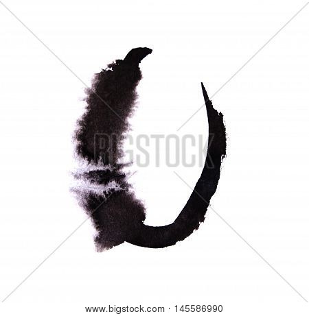 Watercolor hand written black numbers with spots calligraphy.