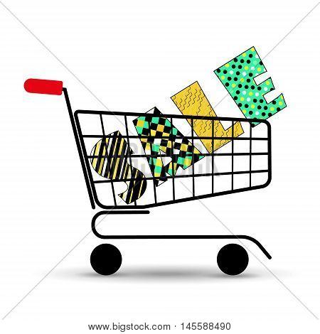 Concept of discount. Shopping cart with sale. Vector illustration. Beautiful letters