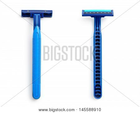 New disposable razor blade on white background isolated