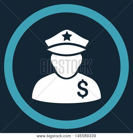 Financial Policeman vector bicolor rounded icon. Image style is a flat icon symbol inside a circle, blue and white colors, dark blue background.