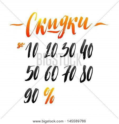 Sale Russian Hand lettering Design Template. Typography Vector Background. Handmade Persent Calligraphy. Easy paste to any background