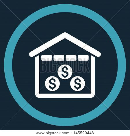 Money Depository vector bicolor rounded icon. Image style is a flat icon symbol inside a circle, blue and white colors, dark blue background.