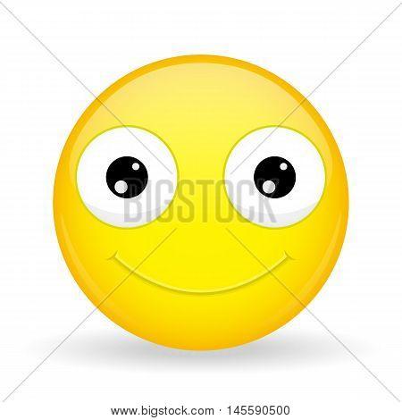Emoticon smiles broadly. Kind emoticon. Cheerful emoticon. Pleased emoji. Happy emotion. Vector illustration smile icon.