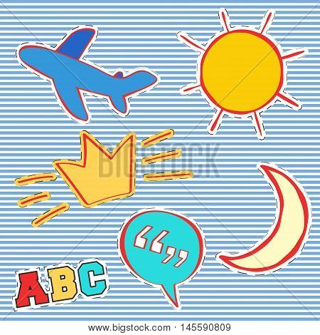 T-shirt print design. Patch fashion, vintage stamp. Printing and badge applique label t-shirts, jeans, casual wear. Sun airplane crown moon and quote bubble. Vector illustration.