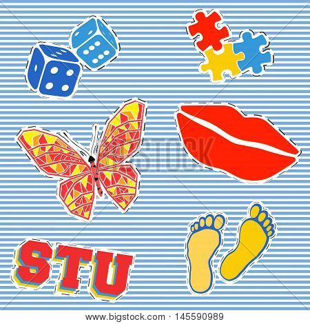 T-shirt print design. Patch fashion, vintage stamp. Printing and badge applique label t-shirts, jeans, casual wear. Puzzle butterfly dices footprint and red lips. Vector illustration.