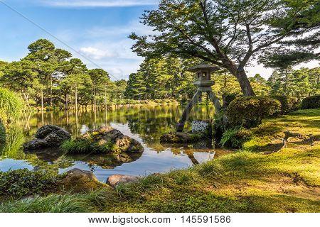 Kotoji Lantern in Kenroku-en Garden Kanazawa Ishikawa Japan