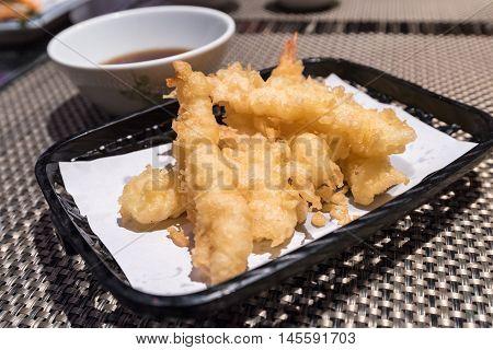 Shrimp Tempura or Batter-fried shrimp (Japanese foods)