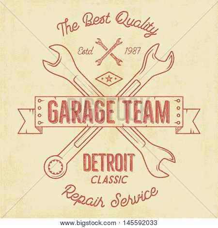 Garage service vintage tee design graphics, Detroit classic, repair service typography print. T-shirt stamp, teeshirt graphic, premium retro artwork. Use also as emblem, logo on web projects. Vector.