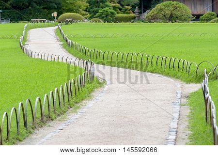 Walk Way In Korakuen, Japanese Garden In Okayama, Japan