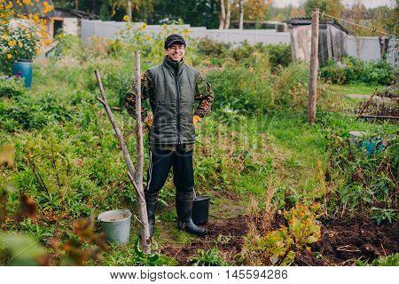 Man hoeing vegetable garden soil, new growth season on organic farm.