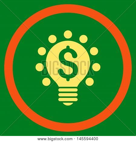 Business Patent Bulb vector bicolor rounded icon. Image style is a flat icon symbol inside a circle, orange and yellow colors, green background.