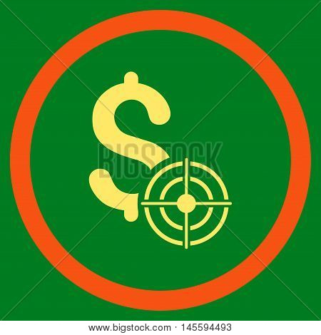 Business Target vector bicolor rounded icon. Image style is a flat icon symbol inside a circle, orange and yellow colors, green background.