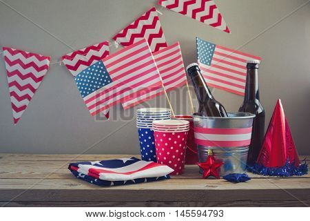 4th of July celebration with USA flags. Table arrangement for party