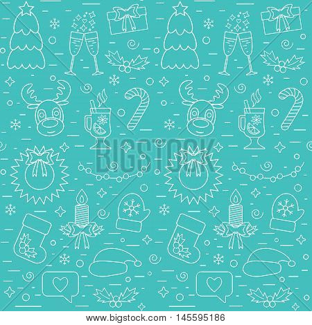 Christmas and New Year seamless pattern with traditional attributes in line style on a blue background. Vector illustration