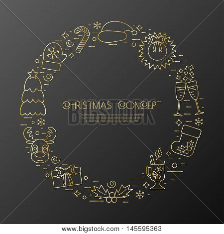 Christmas holidays circle frame with traditional attributes in line style with golden icons. Vector illustration