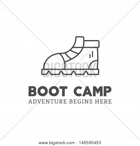 Camping adventure logo design with boot and typography elements. Vector text - boot camp. Backpacking symbol in retro style. Vector Monochrome. Nice for prints, tee design, web infographics.