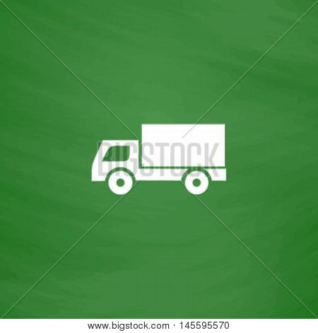 Cargo truck Simple vector button. Imitation draw icon with white chalk on blackboard. Flat Pictogram and School board background. Illustration symbol