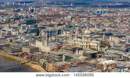 London and St Paul's Cathedral aerial view, in England, UK