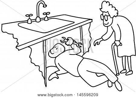 Granny gets her sink fixed plumber volunteer helper