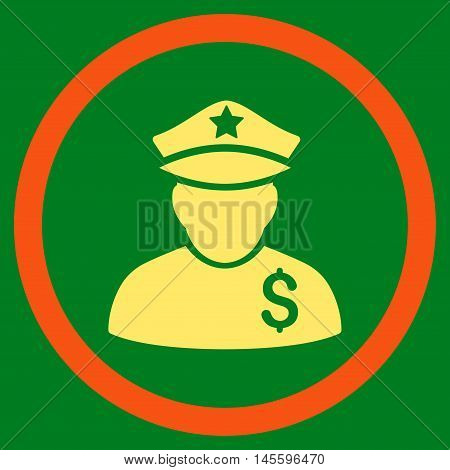 Financial Policeman vector bicolor rounded icon. Image style is a flat icon symbol inside a circle, orange and yellow colors, green background.