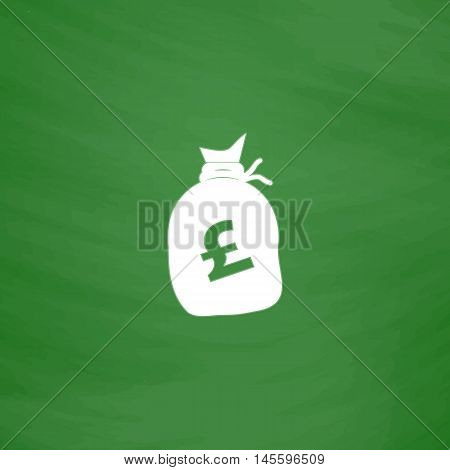 Pound GBP bag Simple vector button. Imitation draw icon with white chalk on blackboard. Flat Pictogram and School board background. Illustration symbol