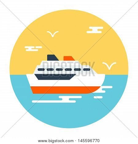 Touristic steamship in the ocean isolated in the circle. Icon flat design. Vector illustration. Travel concept.