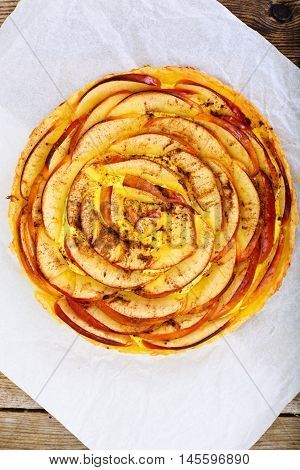 French Apple Tart Sweet Food on White Plate