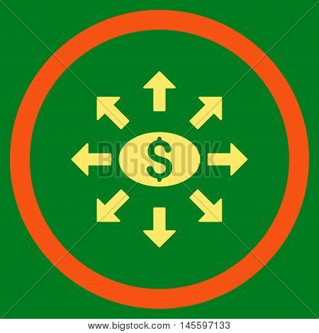 Mass Cashout vector bicolor rounded icon. Image style is a flat icon symbol inside a circle, orange and yellow colors, green background.