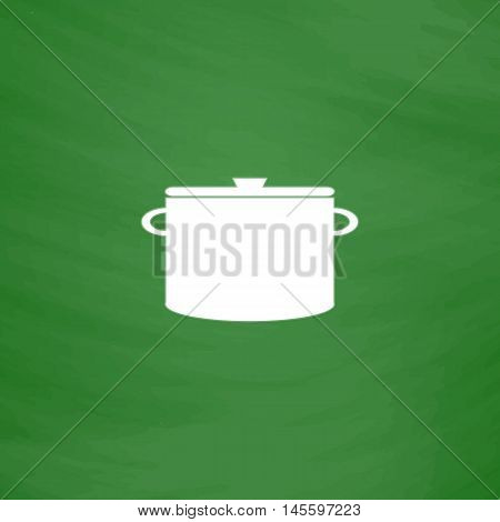 Saucepan Simple vector button. Imitation draw icon with white chalk on blackboard. Flat Pictogram and School board background. Illustration symbol