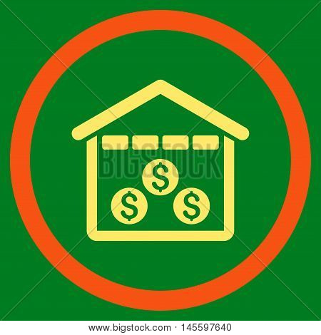 Money Depository vector bicolor rounded icon. Image style is a flat icon symbol inside a circle, orange and yellow colors, green background.