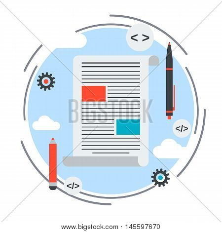 Internet blogging, text content, web journalism flat design style vector concept illustration