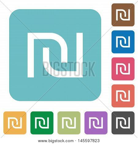 Flat Israeli new Shekel sign icons on rounded square color backgrounds.