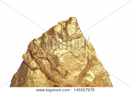Closeup of big gold nugget on a white background