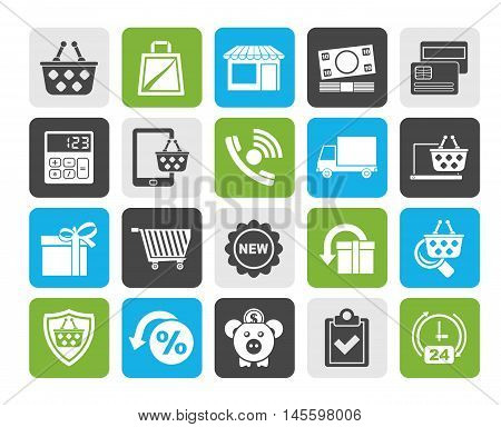 Silhouette on line shop and E-commerce icons - vector icon set