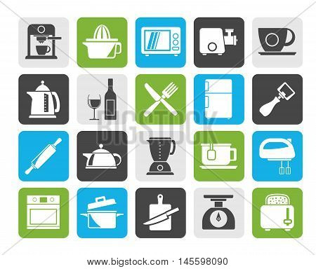 Silhouette Kitchenware objects and equipment icons - vector icon set