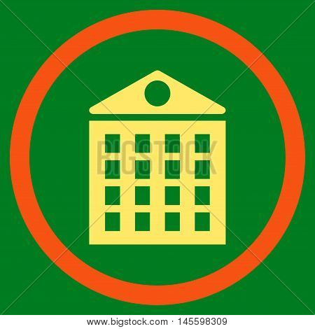 Multi-Storey House vector bicolor rounded icon. Image style is a flat icon symbol inside a circle, orange and yellow colors, green background.