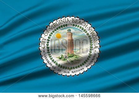 Flag of Virginia Beach is city in state of Virginia USA. 3D illustration