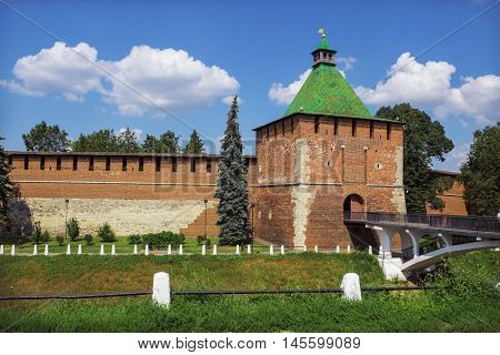 RUSSIA NIZHNY NOVGOROD - AUG 06 2014: Nicholas Tower of Nizhny Novgorod Kremlin. Recently kremlin in Nizhny Novgorod turned 500 years