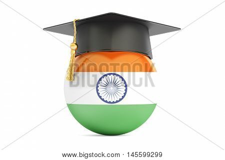 education in India concept 3D rendering isolated on white background