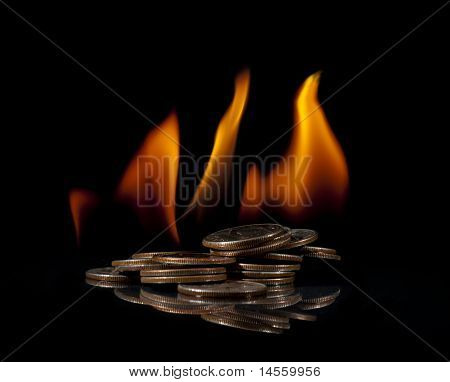 Pile Of Quarters On Fire
