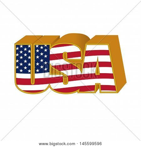 Volumetric 3D USA sign stylized flag colors in a gold frame on a white background. Vector illustration