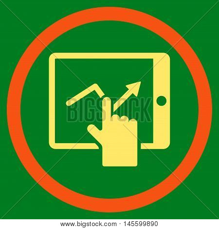 Tap Trend on Pda vector bicolor rounded icon. Image style is a flat icon symbol inside a circle orange and yellow colors green background.