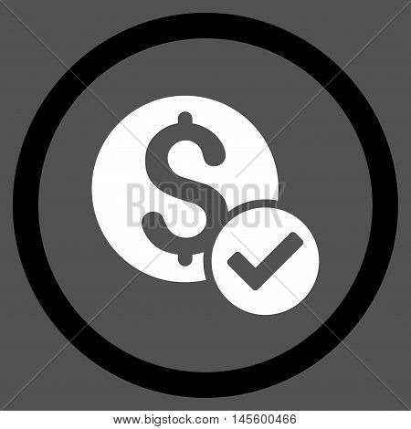 Approved Payment vector bicolor rounded icon. Image style is a flat icon symbol inside a circle black and white colors gray background.